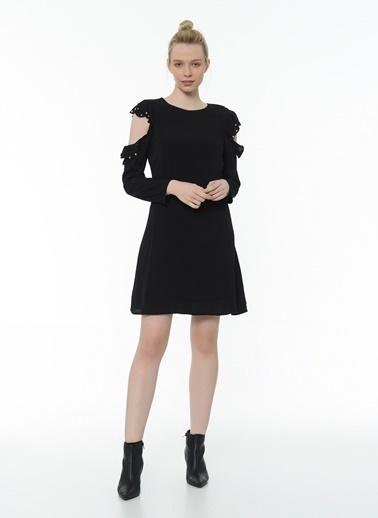 Twist Omuz Penceresi Kristal Taş Baskılı Elbise Siyah